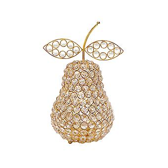 "10.75"" Medium Faux Crystal Gold Pear Sculpture"