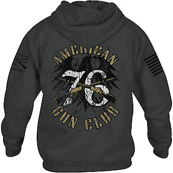 Grunt Style American Gun Club Pullover Hoodie - Dark Heather