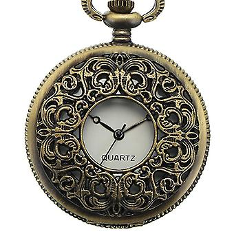 DEFFRUN Vintage Hollow Symmetric Flower Pattern Chain Retro Pocket Watch