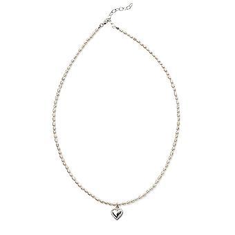 Comienzos 925 plata esterlina niños comunión corazón encanto arroz perla collar 36cm + 5cm extensor