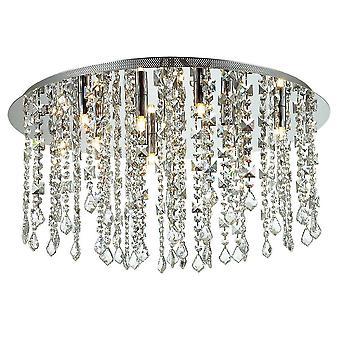 Klassieke Flush Ceiling Light Chrome 12 Licht met crystal shade, G9
