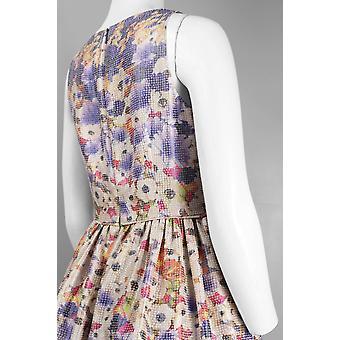 Ajustement encolure et robe florale Jacquard métallisé flare