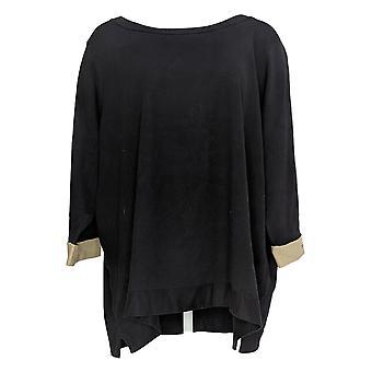 Martha Stewart Mujer's Suéter Plus Contrast Cuff 3/4-Sleeve Negro A368052