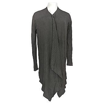 zuda Women's Sweater Open Front Cardigan W/ Rib Detail Gray A382292
