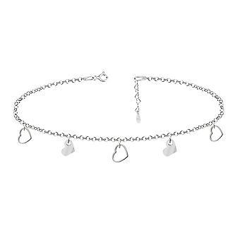Ah! Bijoux Sterling Silver Choker Collier avec coeur asymétrique et coeur Outline Charms, Estampillé 925