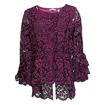 Isaac Mizrahi Live! Dames's Top Lace Knit Top w/ Bell Sleeves Pink A343259