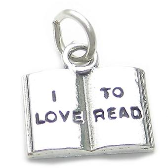 I Love To Read Sterling Silver Charm .925 X 1 Reading Books Book Charms - 3668