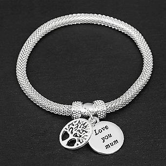 Equilibrium Eq Silver Plated Mesh Tree Of Life Bracelet - Mum