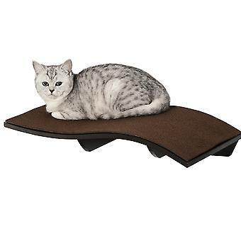 PawHut Wall Mounted Cat Shelf Curved Perch Kitten Bed with Comfortable Removable Carpet Pad Accessories for Playing Lounging Climbing Jumping Brown