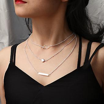 Silver trippelskiktat halsband