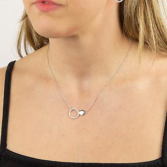 Fiorelli Silver Womens 925 Sterling Silver Rhodium Plated Cubic Zirconia Open Circle & Round Disc Ketting 41cm + 5cm
