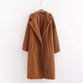Women Beige Teddy Coat Stylish Female Thick Warm Cashmere Jacket
