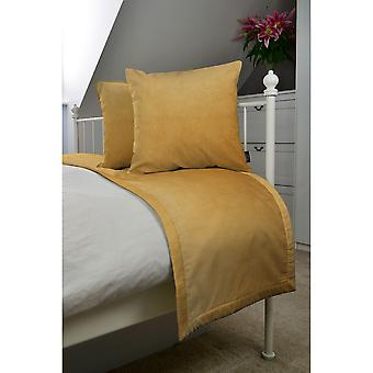 Matt ochre yellow velvet bedding set