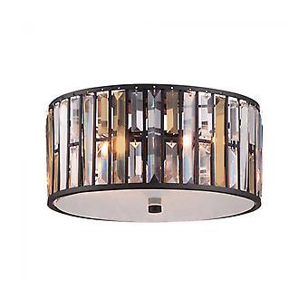 Lámpara De Techo Gemma, Bronce Y Cristal, 31 Cm.