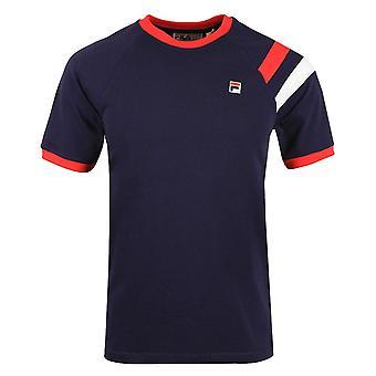 Fila Vintage Roger Lm118978 Raglan Ringer Doppia Striscia T-shirt - Navy