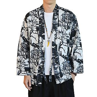 Yunyun Men's Casual Chinese Style Loose Retro Printed Lace-up Cardigan Hanfu Trend