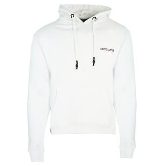 Roberto Cavalli Leopard Logo Weiß Hoodie