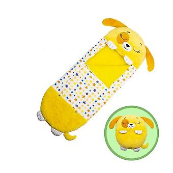 Yellow Children Sleeping Bag Soft Comfortable Easy To Carry Nap Pillow