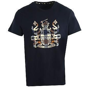 Aquascutum Aldis Check Logo Navy T-Shirt