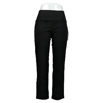 Vrouwen met Control Women's Petite Pants Slim Leg Tummy Control Zwart A225790