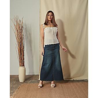Angie vintage wash maxi skirt