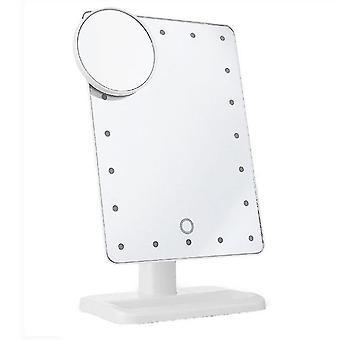 مرآة خفيفة ذكية للتعبئة قابلة للتدوير تعمل باللمس تعتيم مرآة ماكياج لاسلكية 20led مع مرآة 10 مرات