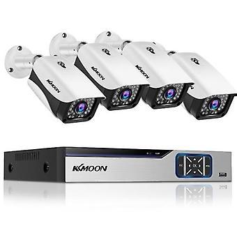 صفقة الأمن المنزلي كاميرا نظام 4CH DVR +4Pcs 1080P HD في الهواء الطلق كاميرا الأمن للماء دعم الرؤية الليلية، والكشف عن الحركة، والوصول عن بعد لا القرص الصلب كبيرة لل فيلا، المنزل، مكتب، متجر، حديقة، ساحة، المرآب الخ