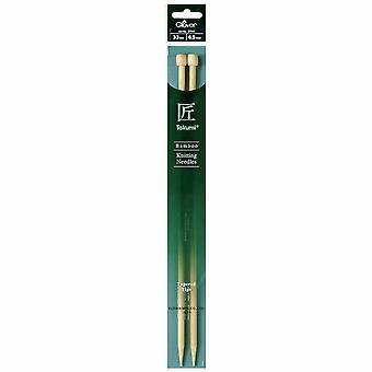 Clover Knitting Pins: Single-Ended: Takumi Bamboo: 33cm x 6.50mm