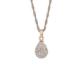 Amor kvinners halskjede med dråpe anheng, sølv 925 belagt rosegull, oransje krystall, 42 CM 512879