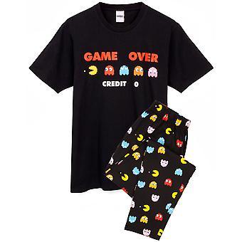 Pac-Man pizsama férfiaknak | Felnőttek Arcade Játék több mint fekete rövid ujjú póló & gt; Loungewear Joggers Pjs | Gamer áru