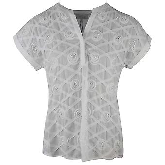 Just White White Dropped Shoulder Capped Rolled Cuff Rose Detail T-shirt