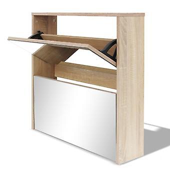 vidaXL armoire à chaussures avec 2 compartiments miroir de chêne optique 63x17x67 cm