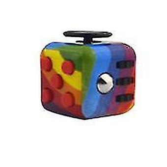 Rainbow 6-sided fidget toy cube to reduce stress and anxiety cube x1079