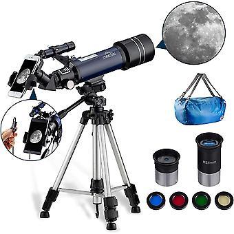 Astronomisches Teleskop für Kinder Oder Anfänger Refraktor Monokular 400/70mm, Tragbar und Mit