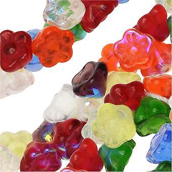الخرز الزجاجي التشيكي، زهرة 7mm، 100 قطعة، قوس قزح AB ميكس