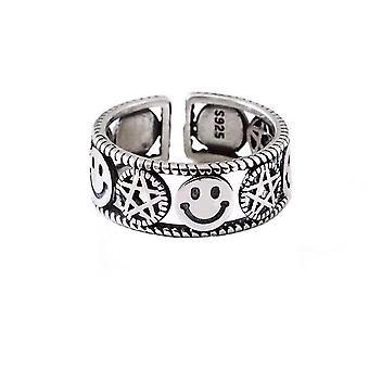 2PCS hopea pinnoitus muoti avaus renkaat vintage tähti pentagram hymyilevä kasvot juhla korut lahjat