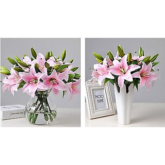 Hot 5 pieces home living room decor white pink 30cm real touch plastic lily wedding events party favor artificial flowers