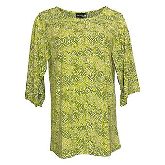 Antthony Women's Top Kimono Sleeve Batik Print Green 747141