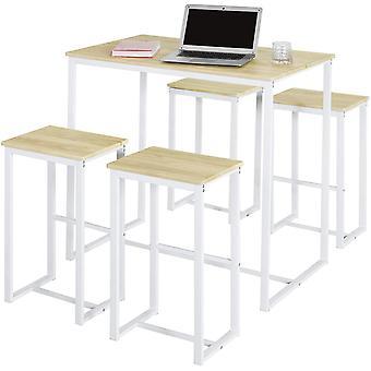 SoBuy OGT15-WN, zestaw 1 stołu i 4 stołków Zestaw Bistro z podnóżkiem