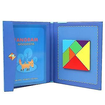 Wooden pegged puzzles 2+ portable magnetic tangram educational children's puzzle book blue