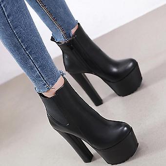 Damen Stiefelette, Seite Zip Lug Sole Plattform Chunky Block Heel(35)(Schwarz)