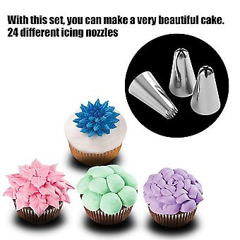 24 Pcs Durable Large Icing Piping Nozzles Pastry Stainless Steel Tips Set