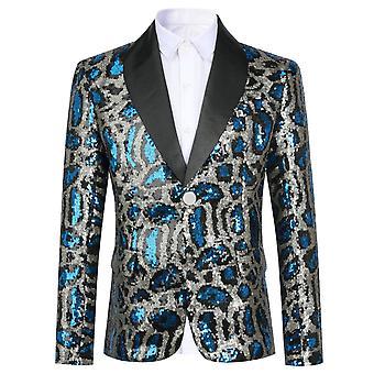 Mile Boy's Suit Jacket Blue Sequin Casual Slim Fit Blazer For Speech Performance Party Wedding