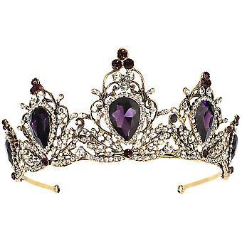 Vintage Rhinestone Crown Crystal Svadobná koruna Svadobná tiara čelenka Fialová