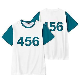 Summer Squid Game Men's No. 456 T-shirt 3d Oversized T-shirt Casual All-match Short Sleeve Top