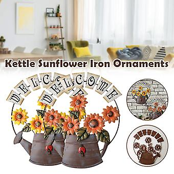 Sunflower Ornaments Wrought Iron Art Pure Hand-painted Coloring Retro Hanging