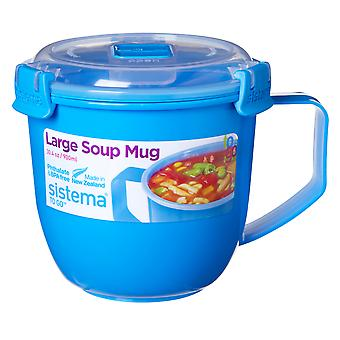 Sistema grand Klip It micro-ondes soupe aller Chope, 900ml, bleu