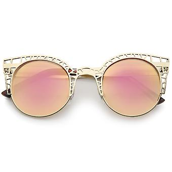 Women's Metal Cut Out Frame Colored Mirror Lens Round Cat Eye Sunglasses 48mm