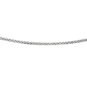 925 Sterling Silver Rhodium 3.80mm Diam-cut Rnd Wheat Mens Chain Pear Shape Clasp Necklace - Length: 20 to 24