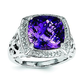 925 Sterling Silver Polished Open back Rhodium plated Checkerboard cut Amethyst and Diamond Ring Jewelry Gifts for Women